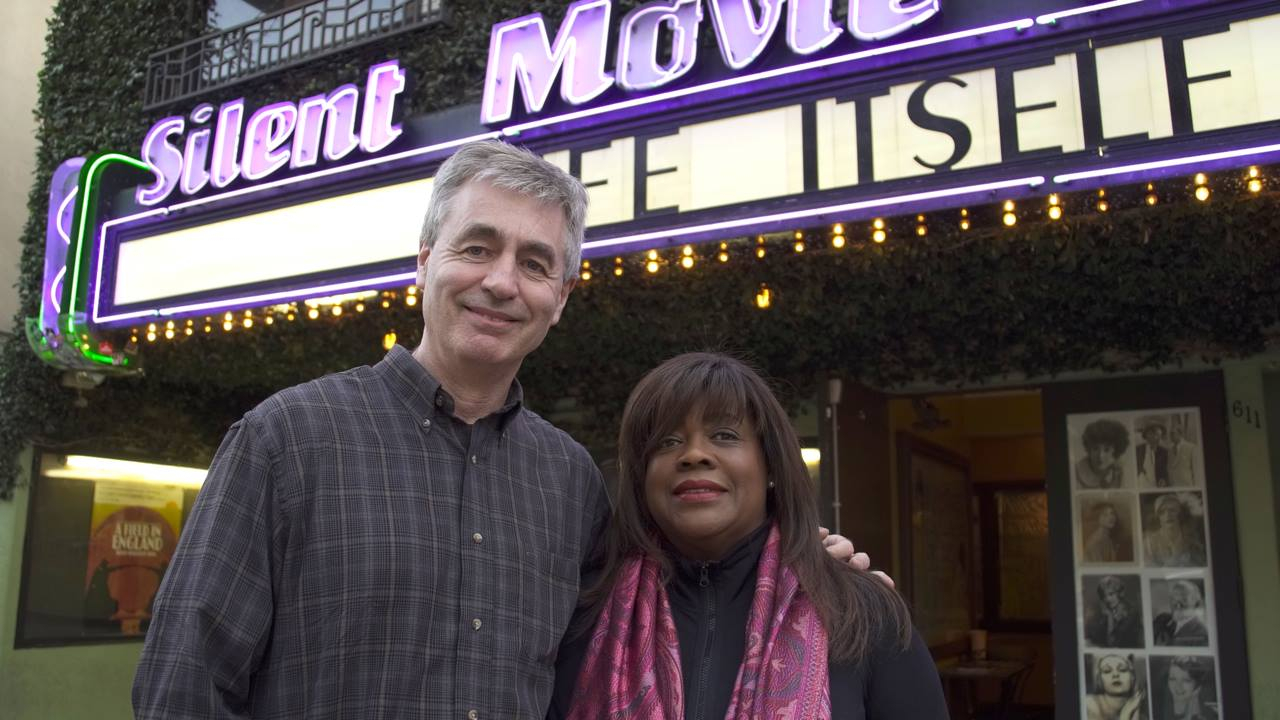 James and Chaz Ebert outside of theatre screening Life Itself
